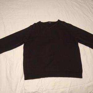 J. Crew Men's Tall Black Cotton V-Neck Sweater